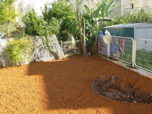 הכנה לבריכת נוי בגינה