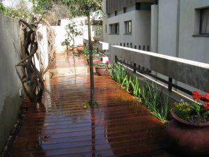 בניית דק איפאה סידור השקייה ושתילת צמחים